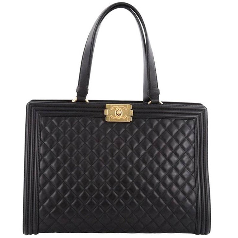 Chanel Boy Shopping Tote Quilted Lambskin Large at 1stdibs 94fdce098b491