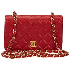 1980s Chanel Red Quilted Lambskin Vintage Mini Flap Bag