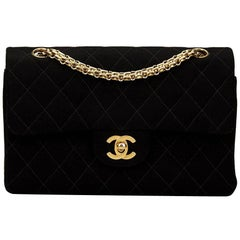 1990s Chanel Black Quilted Jersey Fabric Small Classic Classic Double Flap Bag
