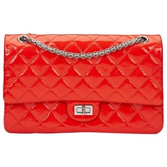 2011 Chanel Coral Orange Quilted Patent Leather 2.55 Reissue 226 Double Flap Bag