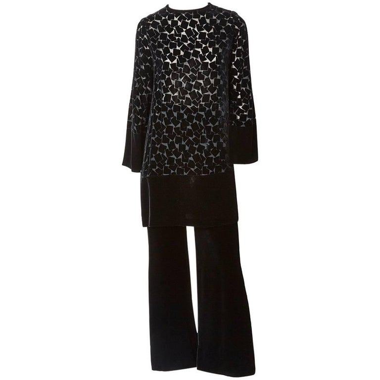 Yves Saint Laurent Cut Velvet Tunic and Pant Emsemble