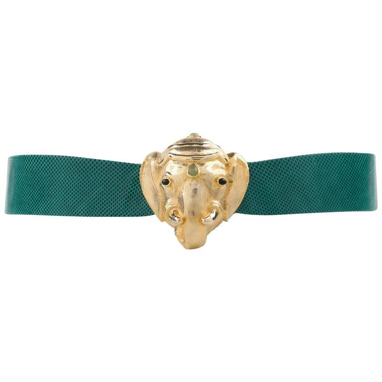 JUDITH LEIBER c.1980's Emerald Green Lizard Leather Gold Ganesh Elephant Belt 1