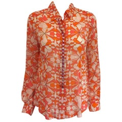 Elegant Emilio Pucci Sheer Silk Abstract Print Blouse With Oversize Rhinestones