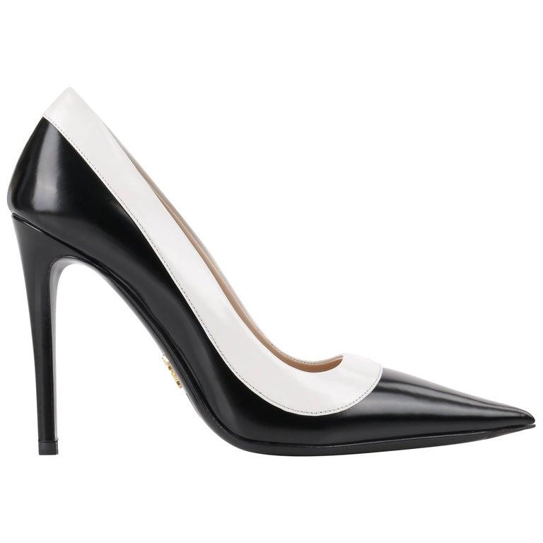"PRADA c.2013 ""Spazzolato Bicolor"" Black & White Leather Pointed Toe Pumps"