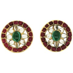 Chanel Spring/Summer 1994 Gripoix Glass Vintage Flower Earrings