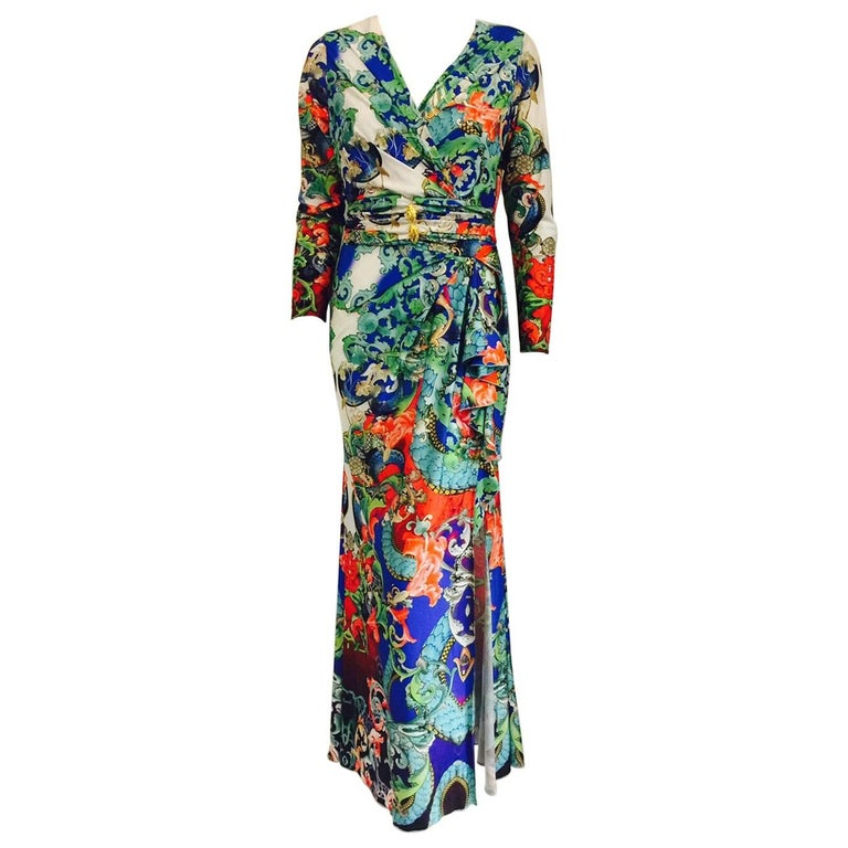Remarkable Roberto Cavalli Multicolor Floral Print V Neck Long Dress 1
