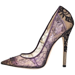Jimmy Choo Black and Purple Lace Pumps Sz 38
