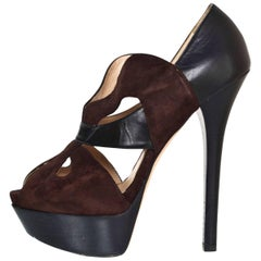 Fendi Black and Brown Suede and Leather Pumps Sz 38
