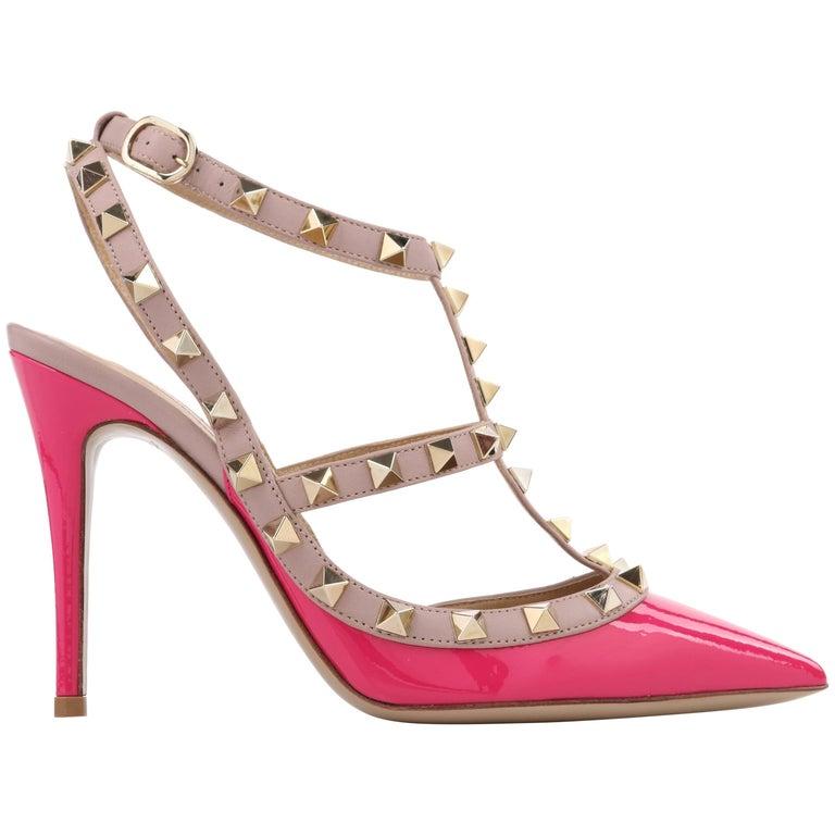 "VALENTINO Garavani Fuchsia & Blush Pink ""Rockstud"" T-Strap Pointed Toe Pumps"