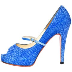 Christian Louboutin Blue Python Open-Toe Platform Pumps Sz 36