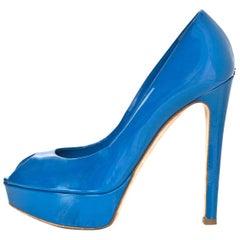 Christian Dior Blue Patent Peep Toe Pumps Sz 36