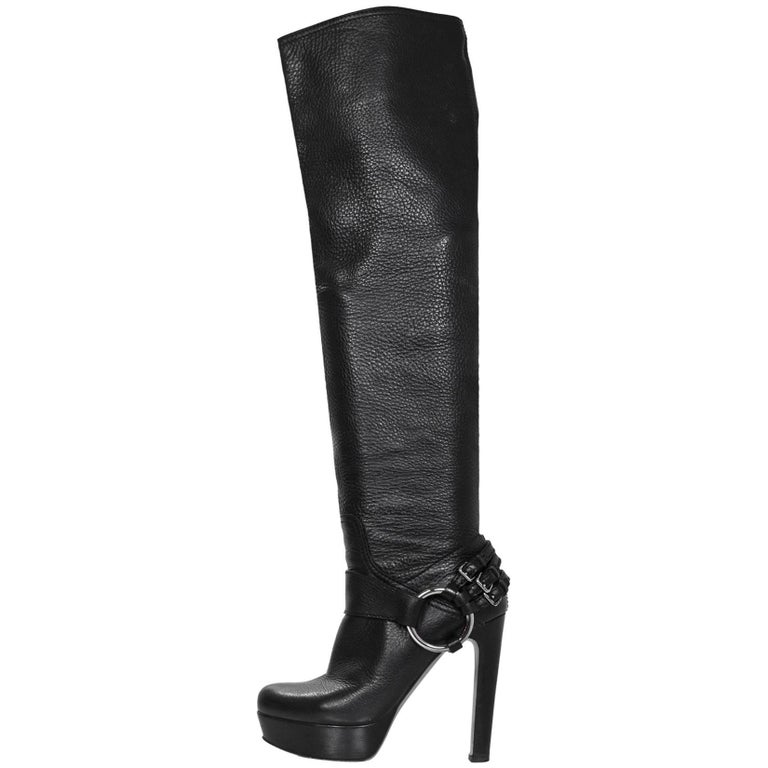 Miu Miu Black Leather Over The Knee Boots Sz 38 with Box and DB