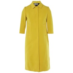 Dolce & Gabbana Yellow Wool Button Up Coat Sz IT40