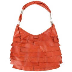 "YVES SAINT LAURENT S/S 2004 ""St Tropez"" YSL Burnt Orange Leather Ruffle Hobo Bag"