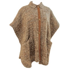 Bonnie Cashin for Sills Nubby Brown Tweed Cape Suede Trim Layering 60s OSFM