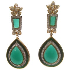 Exquisite Emerald Green Poured Glass Tear Drop Crystal Earrings