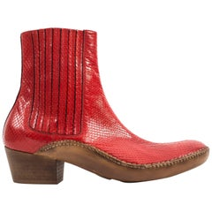 Maison Martin Margiela Autumn-Winter 2007 men's red python chelsea boots