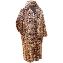 70s Vintage Leopard Coat Faux Fur Long Double Breasted Ladies Size M