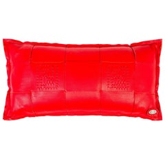Fendi Red Leather Logo Home Decorative Couch Chair Throw Pillow