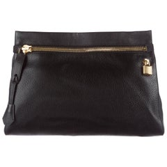 Tom Ford Black Leather Gold Zip Large Envelope Evening Clutch with Accessories