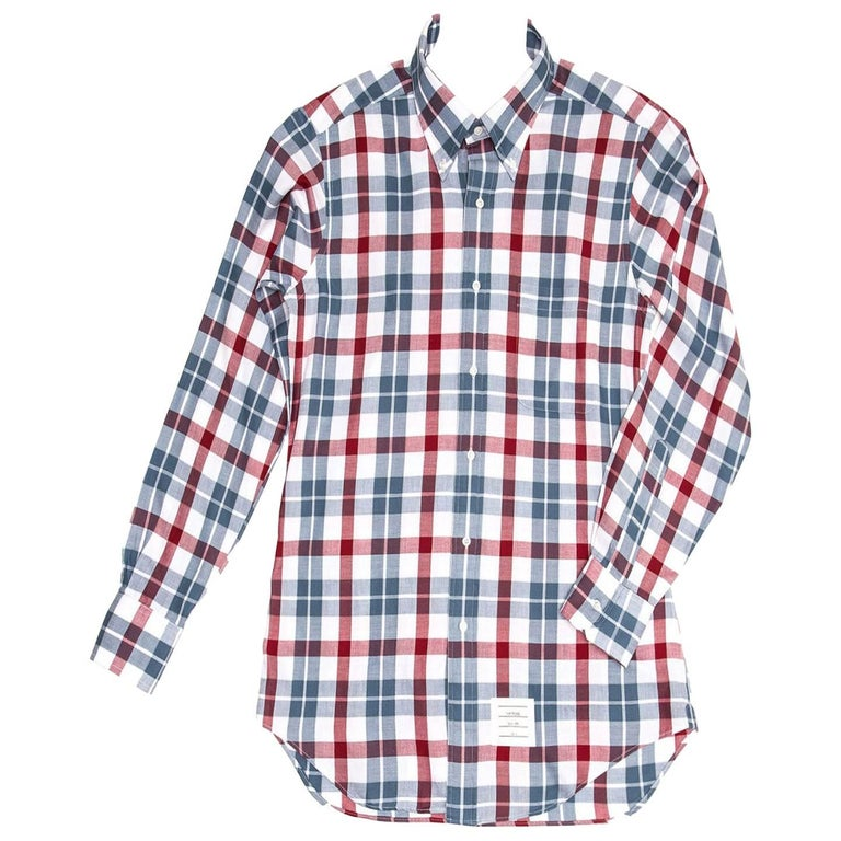 Thom Browne Blue White Red Plaid Shirt For Man