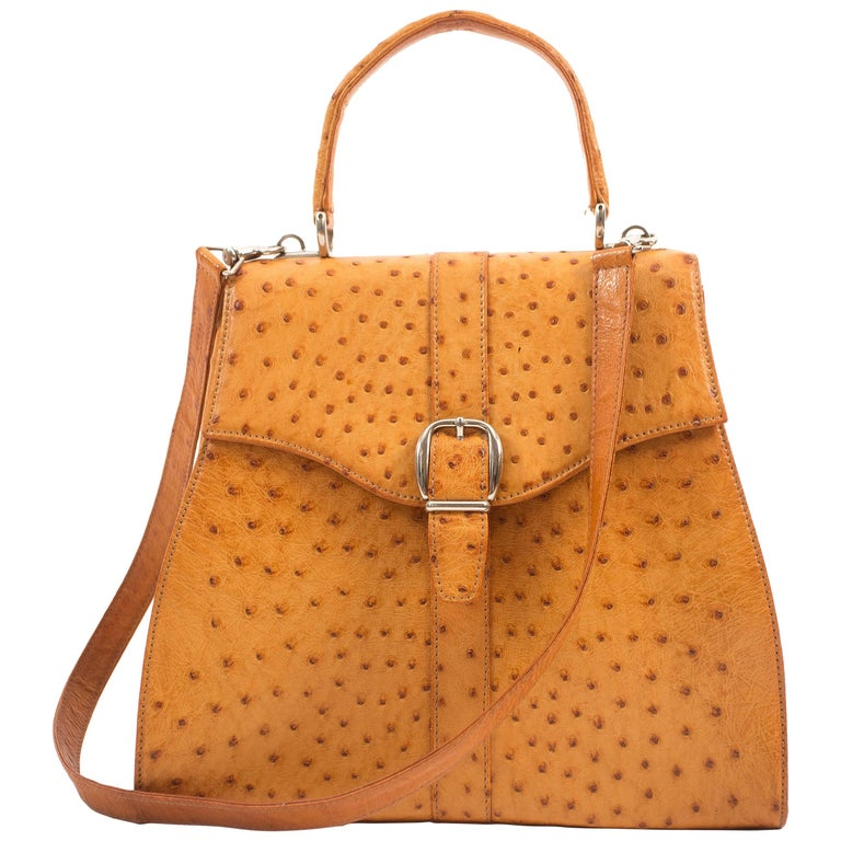 Gucci 1970s tan ostrich leather hand bag with shoulder strap