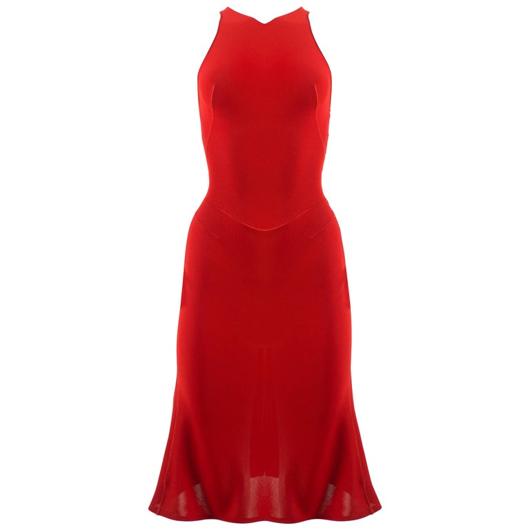Alaia Autumn-Winter 2001 couture red knitted mid length evening dress
