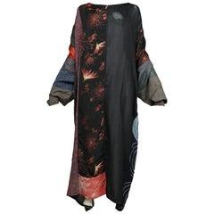 Vintage Grau Japanese Kimono Patchwork Caftan Gown 1980s