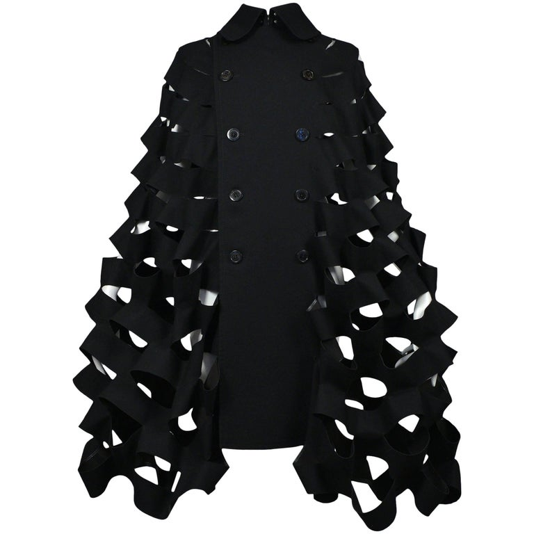 Future Vintage Junya Watanabe Black Double Breasted Laser Cut Cape Runway 2015  For Sale