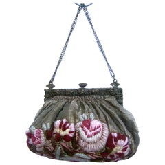 Exquisite Art Nouveau Embroidered Evening Bag  c 1920s
