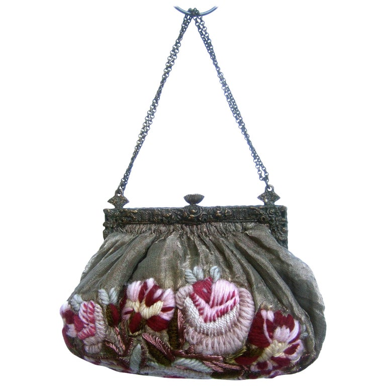 be0b388102c73 Exquisite Art Nouveau Embroidered Evening Bag c 1920s For Sale at ...