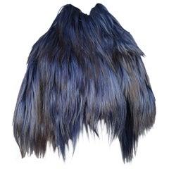 Ann Demeulemeester Ombre Blue and Black Goat Fur Capelet Vest 2011
