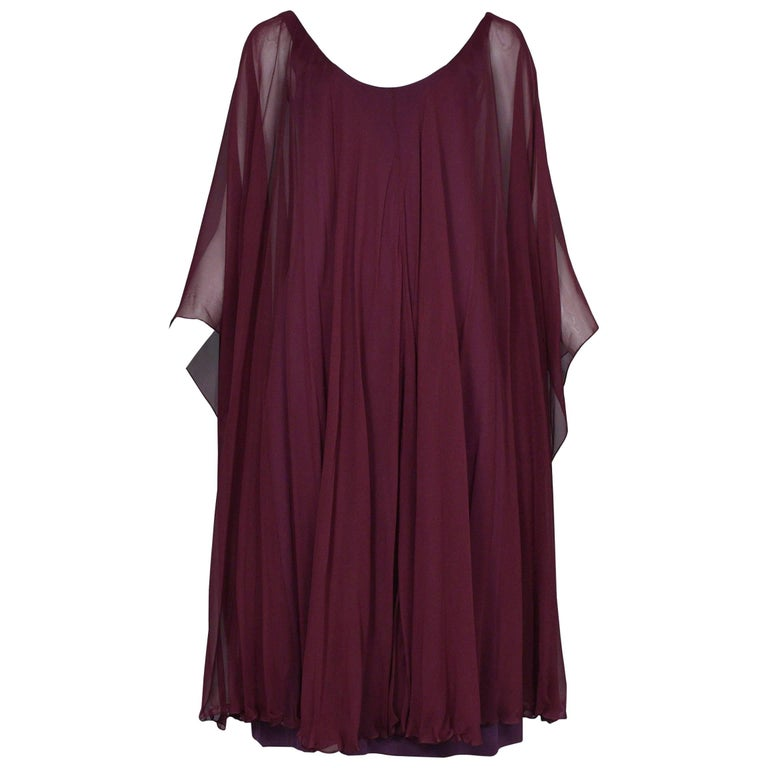 df3893efa6 Vintage Halston Berry Chiffon Mini Caftan Cocktail Dress w Butterfly  Sleeves 70s For Sale