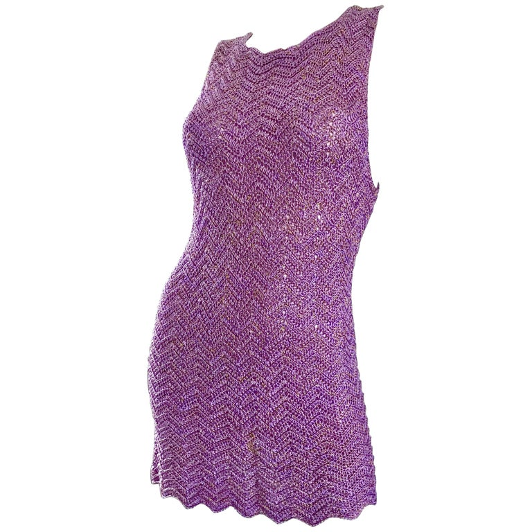 Vintage Isaac Mizrahi Bergdorf Goodman 1990s Purple + Gold Crochet Mini Dress  For Sale