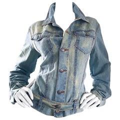 1990s Jean Paul Gaultier Stonewash Blue Jean Denim Vintage Belted 90s Jacket