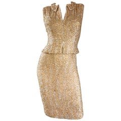 1950s Harvey Furst Demi Couture Gold + Silver Heavily Beaded Silk Chiffon Dress