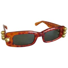 Rare Vintage Mercura 1990s Tortoise Shell Gold Studded Asymmetrical Sunglasses