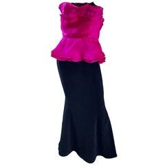 Vintage Wayne Clark Size 12 Hot Pink Fuchsia + Black Silk Strapless 1990s Gown