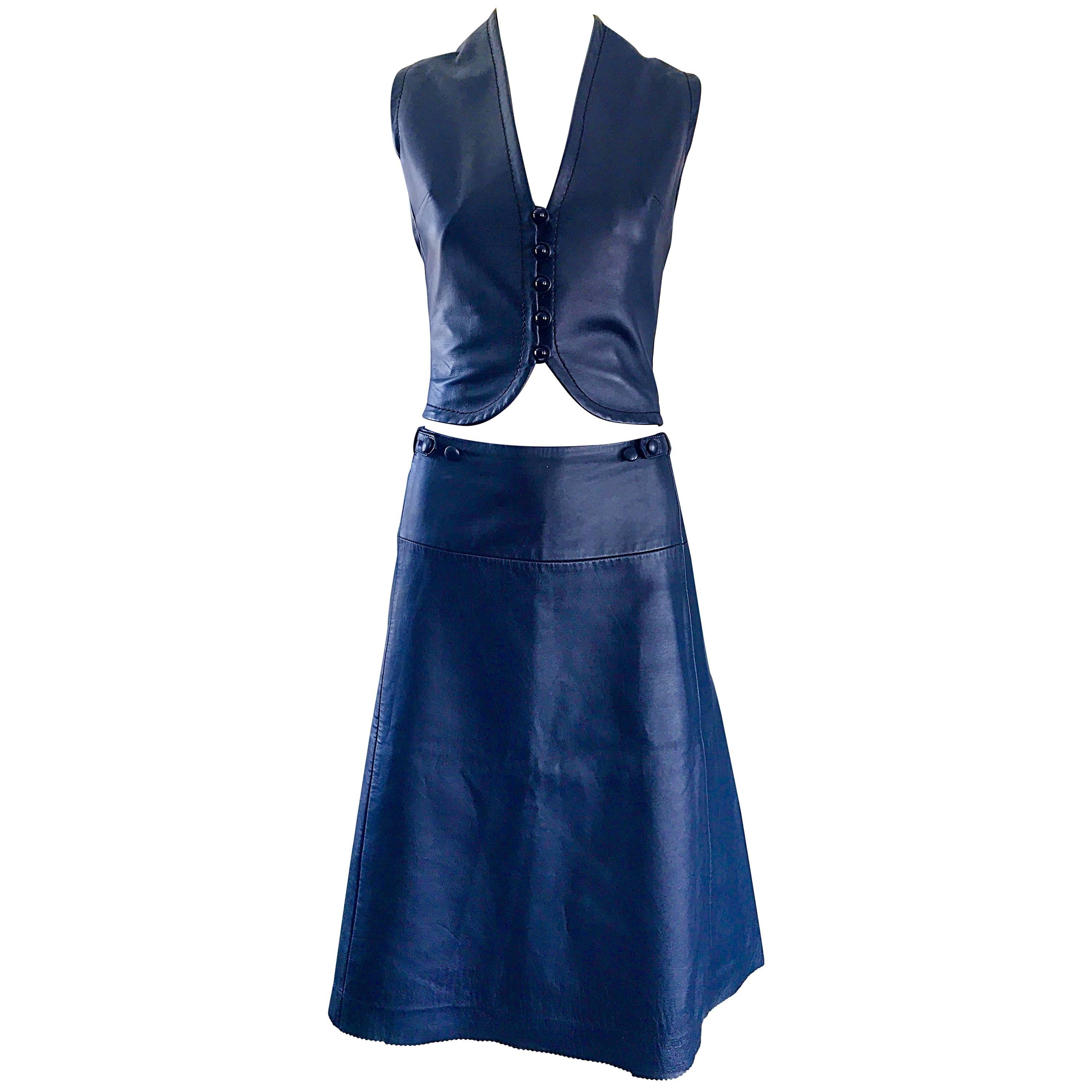 1960s Jean Patou by Karl Lagerfeld Navy Blue Leather Cropped Vest & A Line Skirt