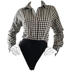 Vintage Norma Kamali 1990s Black and White Checkered Flannel One Piece Bodysuit