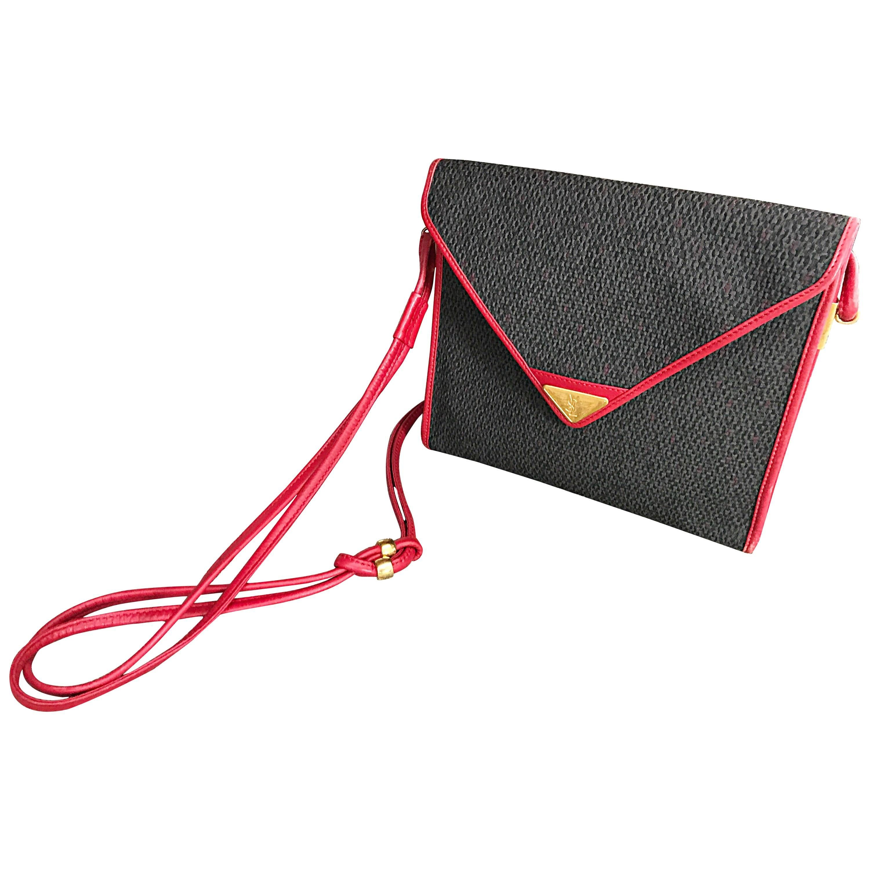 Vintage Yves Saint Laurent Waxed Canvas Leather Crossbody YSL Shoulder Bag