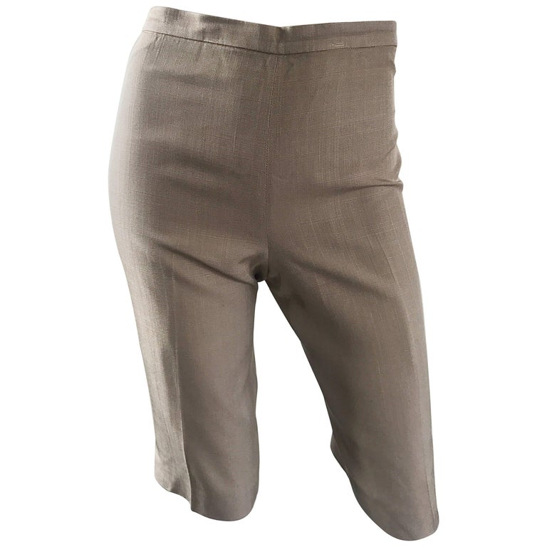 Vintage Michael Kors Collection 1990s Khaki Silk Cropped Capri Pants Shorts Sz 6 1