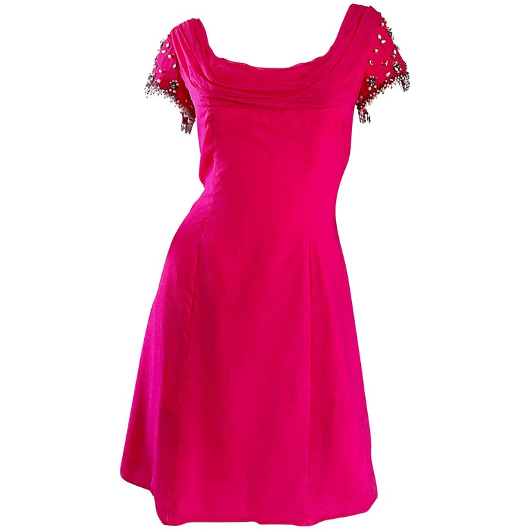 1960s Lilli Diamond Deadstock Hot Pink Fuchsia Vintage 60s A Line Chiffon Dress