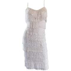 Incredible Vintage 1970s Does 1920s White Fully Fringed Jersey Flapper Dress