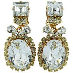 Christian Dior Vintage Diamante Dangling Earrings