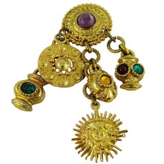 Edouard Rambaud Vintage Jewelled Multi Charms Brooch