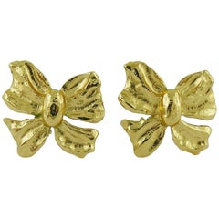 Yves Saint Laurent YSL Vintage Gold Toned Bow Clip-On Earrings