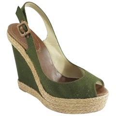 Christian Louboutin Green Flannel and Straw Wedges - 41
