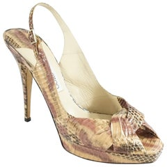 Jimmy Choo Blush and Pink Snake Slingback Heels - 40