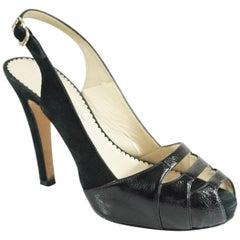 Oscar de la Renta Black Suede and Patent Slingback Heels - 37.5